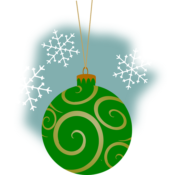 Bauble, Green, Blue, Christmas, Ornament, Snowflake