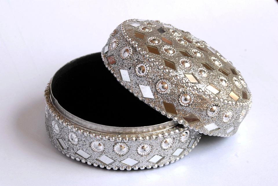 Trinket Box, Silver, Ornament, Gift, Open, Lid, Fashion