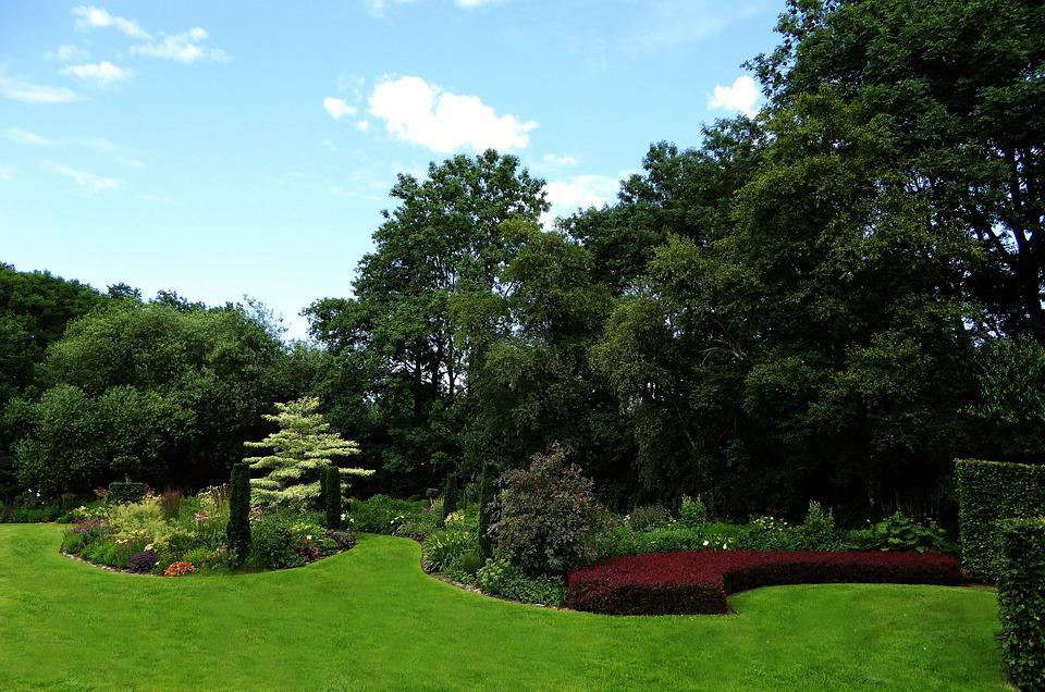 Ornamental Garden, Green, Trees, Applied, Colorful