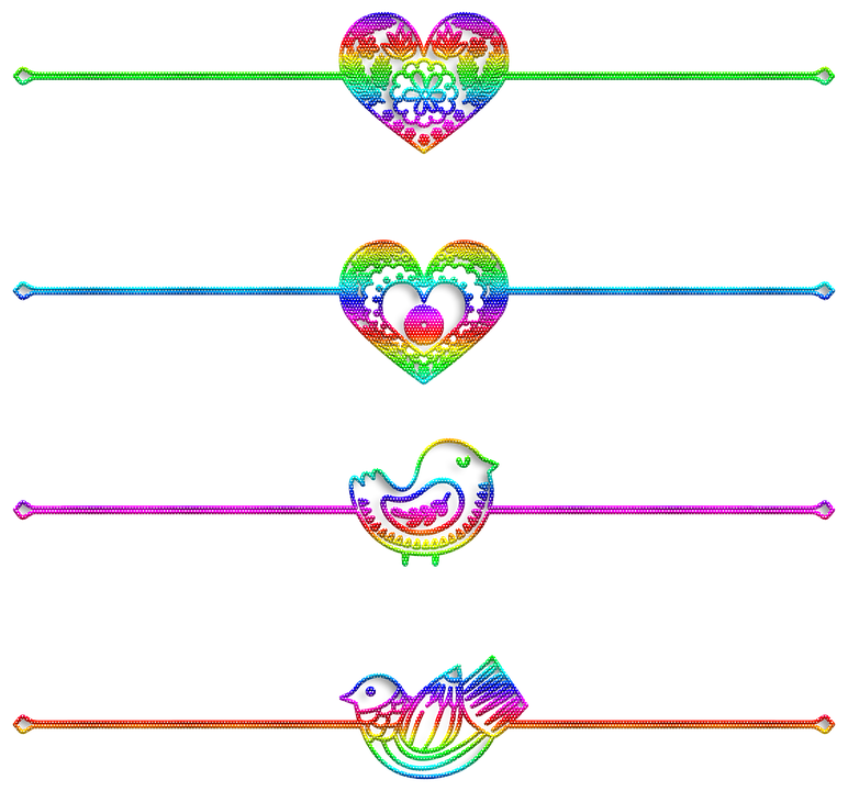 Dividers, Heart, Bird, Ornamental, Separators