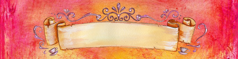 Banner, Red, Bright, Watercolor, Ornate, Fancy, Vintage