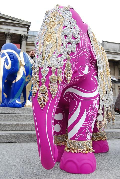 Elephant, Art, Pink, Decorated, Ornate, Artwork
