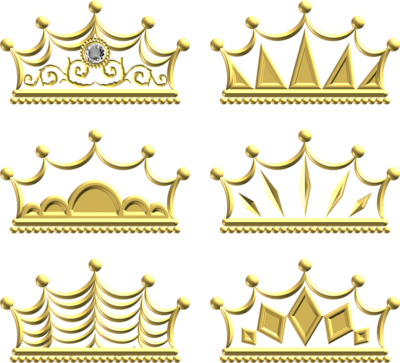 Gold, Crown, Ornate, Metal, Ornament, Decoration, Set
