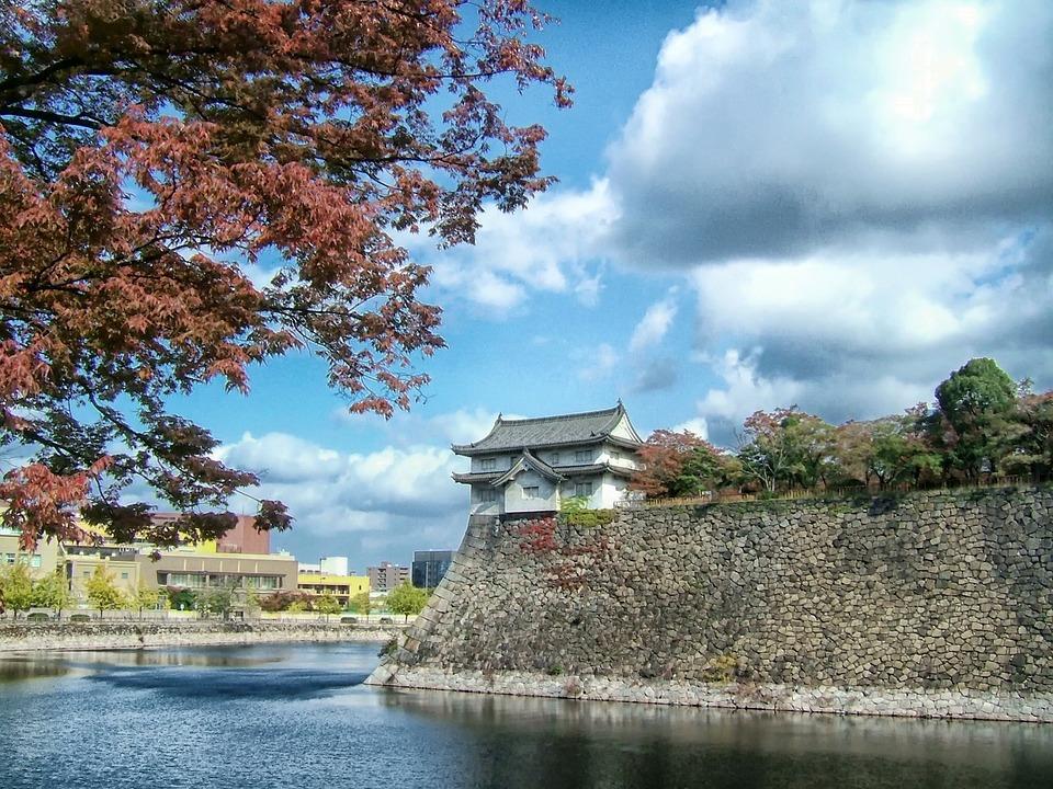 Osaka Castle, Japan, Landmark, Famous, Trees, River
