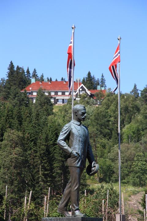 Oslo, Norway, Holmenkollen, Sculpture, Fig, Man, Flags