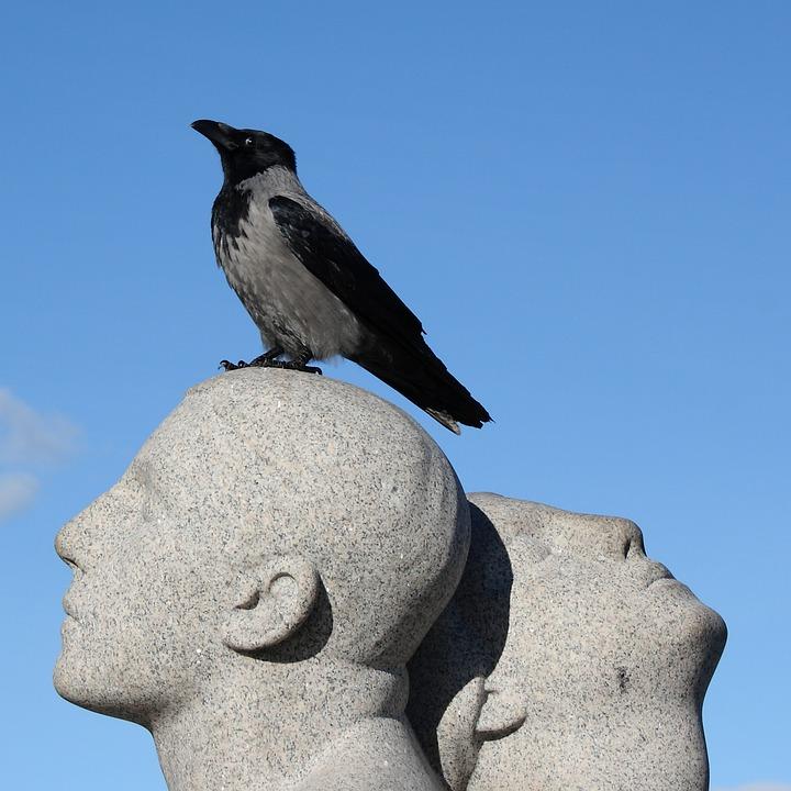 Norway, Oslo, Vigeland Park, Sculpture, Park, Crow