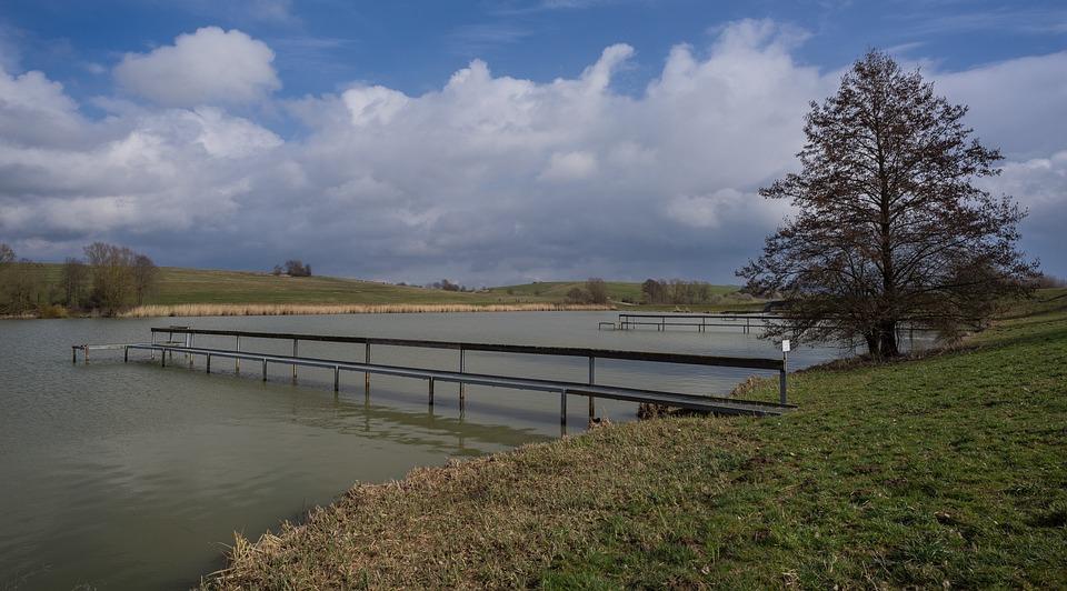 Lake, Books Stausee, Ellwangen, Ostalb, Web, Clouds