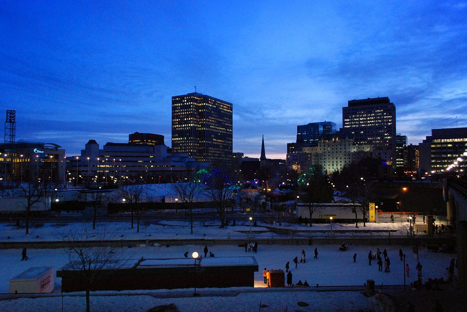 City, Lights, Night, Winter, Ottawa, Canada, Urban