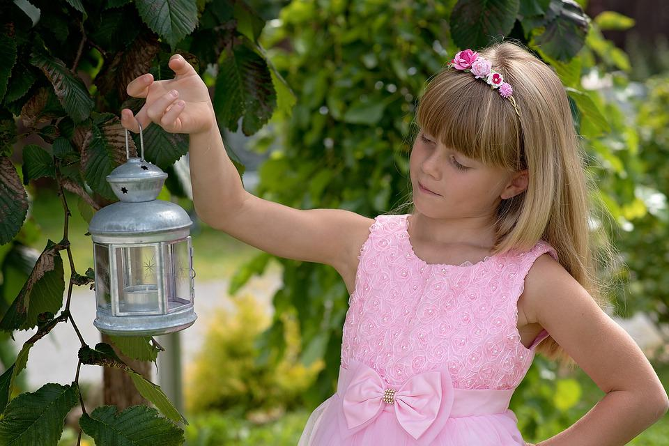 Child, Girl, Blond, Lantern, Out, Nature, Portrait