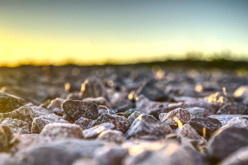 Sunset, Stones, Gravel, Close Up, Macro, Out Of Focus