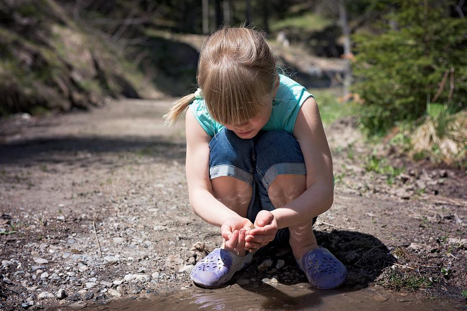 Human, Child, Girl, Blond, Out, Nature, Water, Puddle