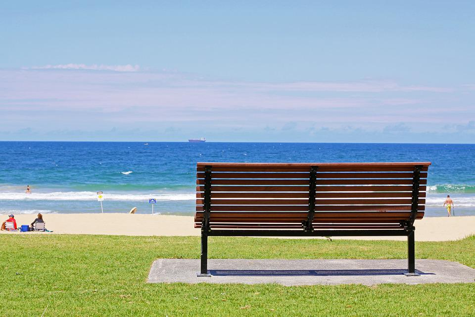 Bench, Beach, Sky, Sunset, Sunny, Outdoor, Coast, Blue