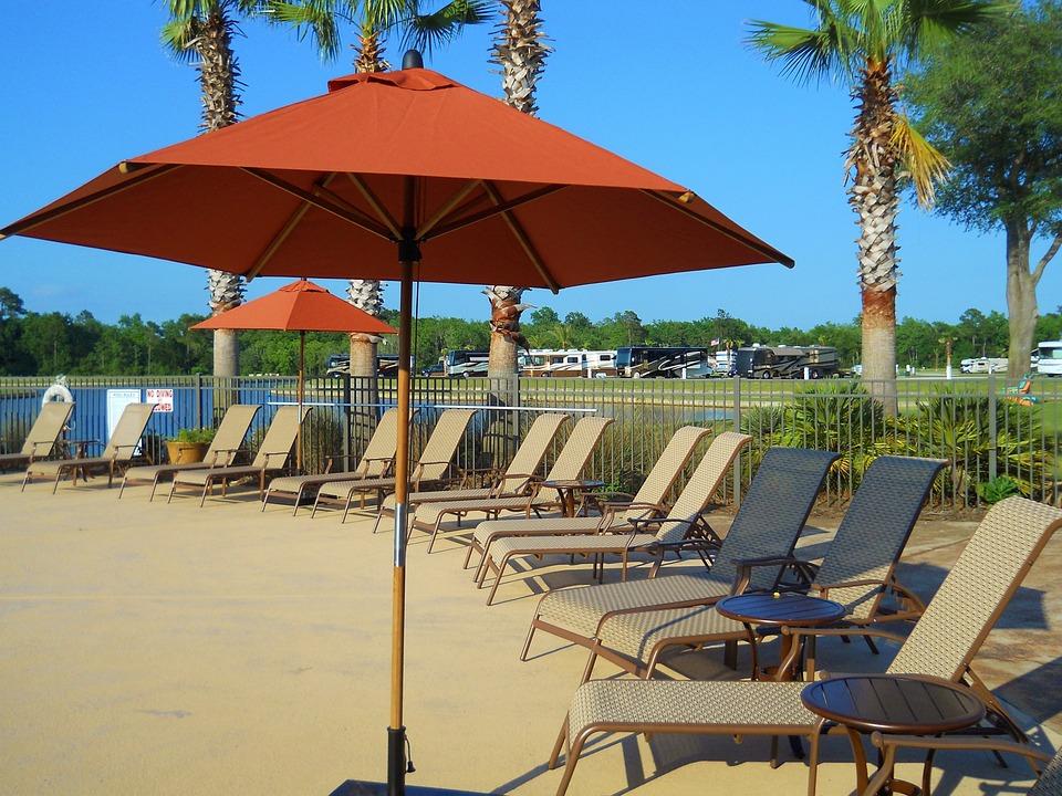 Pool, Umbrella, Chaise, Outdoor, Resort, Summer