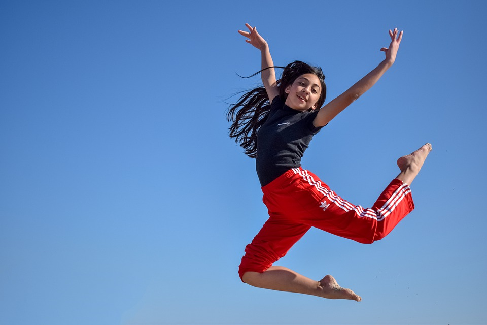 Girl, Teenager, Jumping, Outdoor, Athletic, Female
