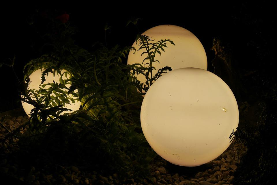 Lamps, Outdoor Lighting, Garden, Balls, Night, Lighting