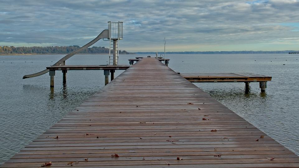 Boardwalk, Jetty, Outdoor Pool, Web, Lake, Chiemsee