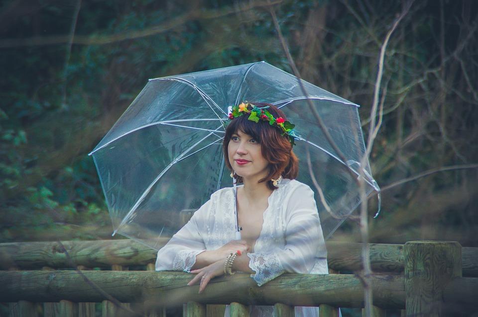Umbrella, Nature, Good Looking, Rain, Outdoor, Woman