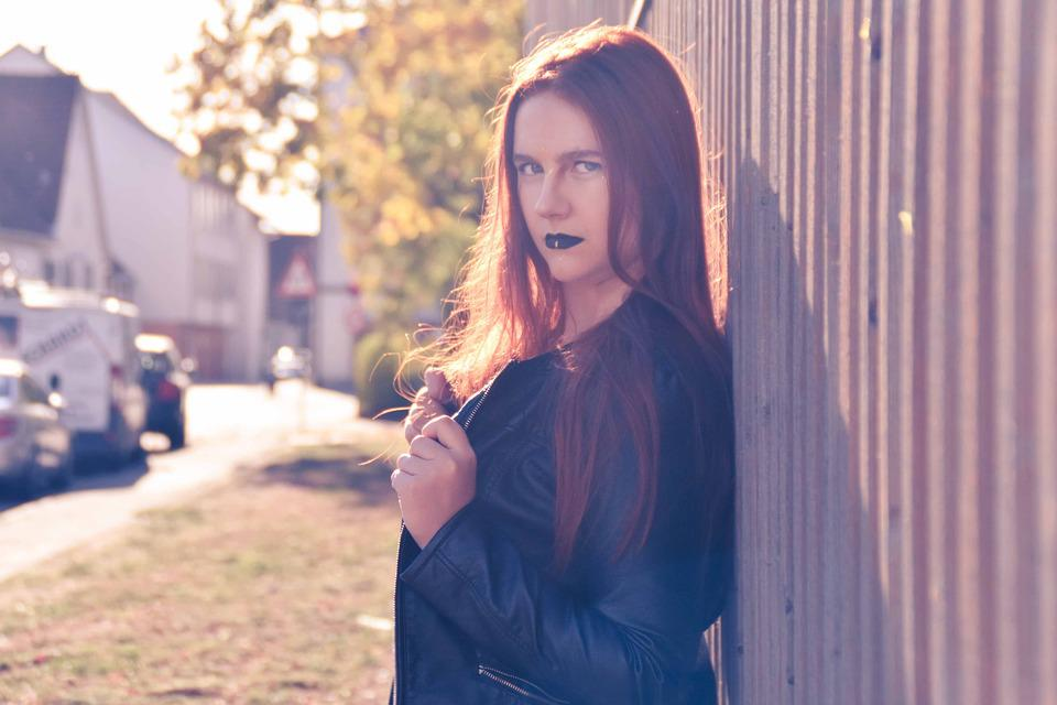 Woman, Rock, Leather Jacket, Red Hair, Outdoor