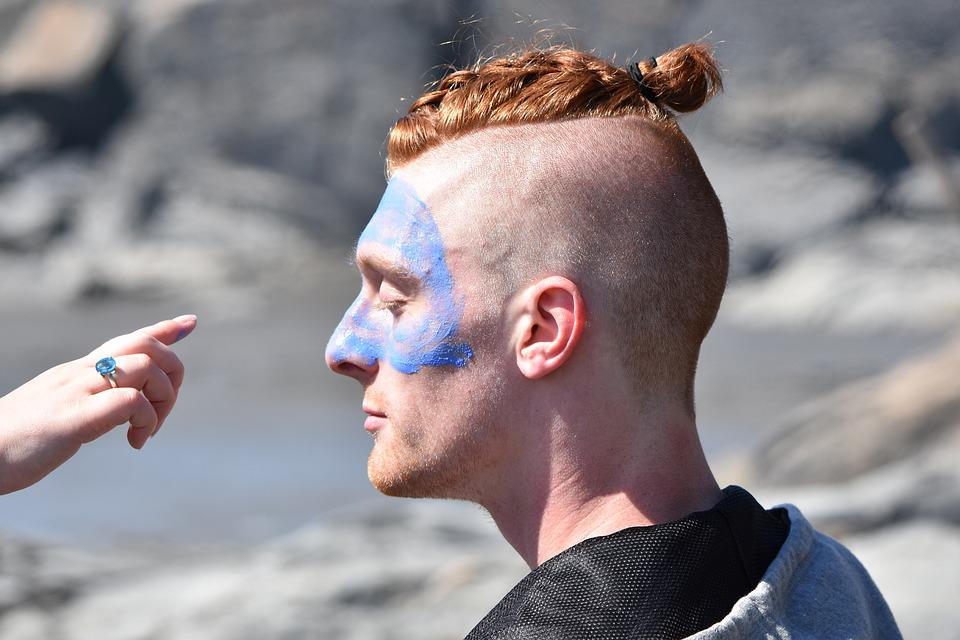 Redhead, Warrior, Paint, Outdoor, Face