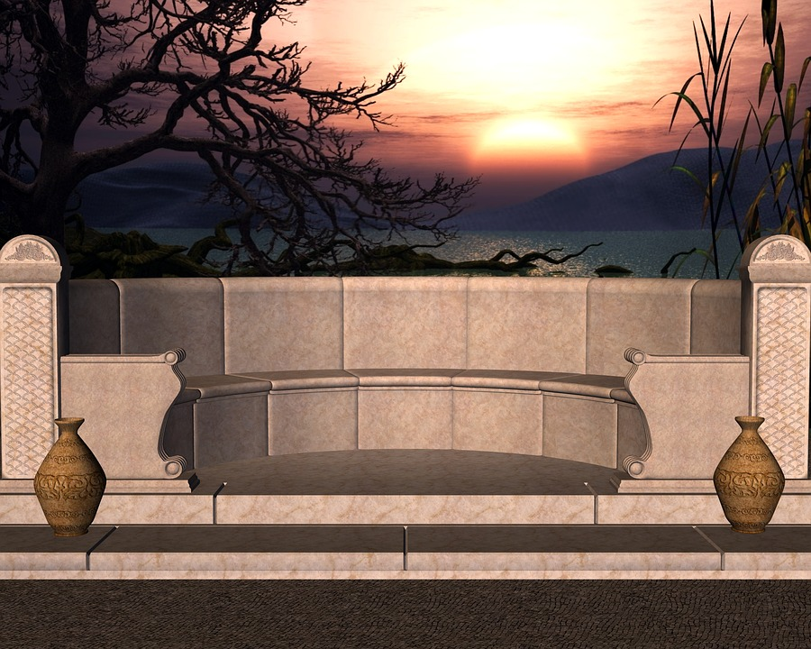 Sunset, Stone Bench, Outdoor, Bench, Stone, Evening