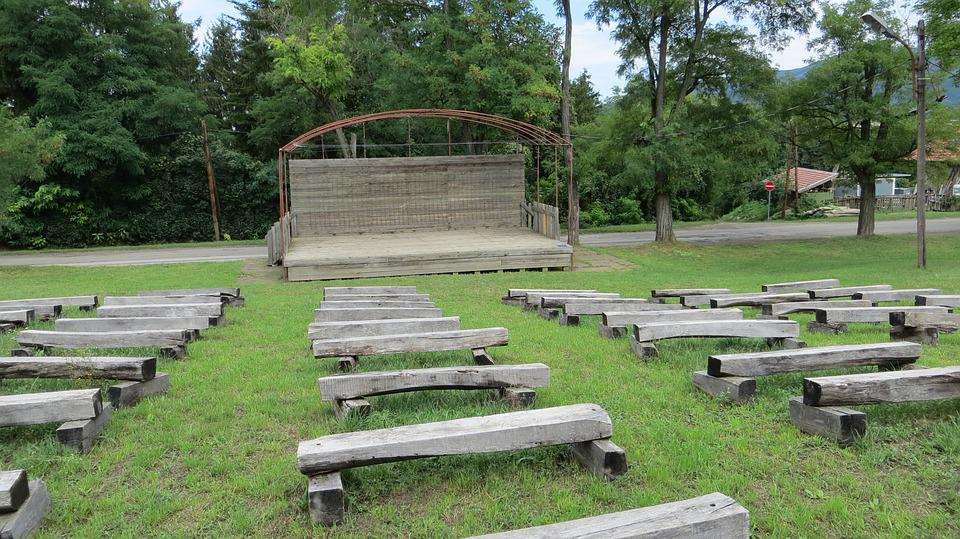 Park Stage, Bench, Outdoor, Theater, Grass, Tree