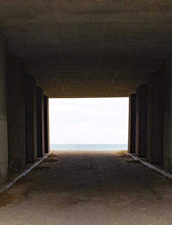 Tunnel, Beach, Ocean, Water, Coastline, Blue, Outdoor