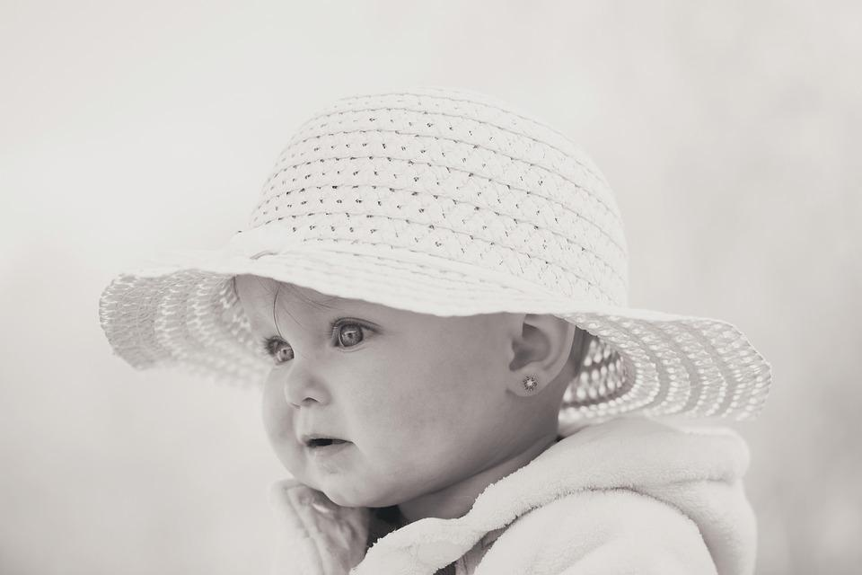Child, Hat, Black And White, Outdoors