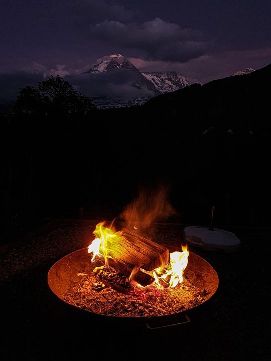 Campfire, Bonfire, Night, Mountain, Outdoors