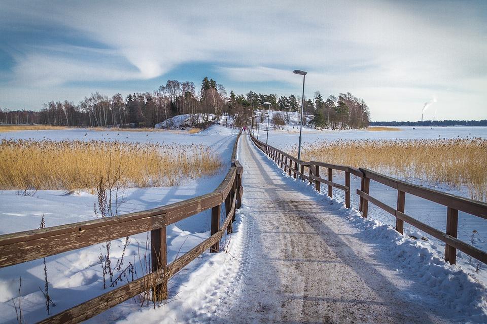 Snow, Winter, Outdoors, Nature, Landscape, Bridge