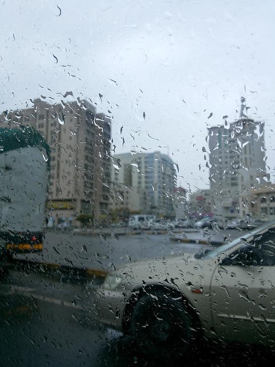 Rain, Town, Street, City, Wet, Outdoors, Weather, Car