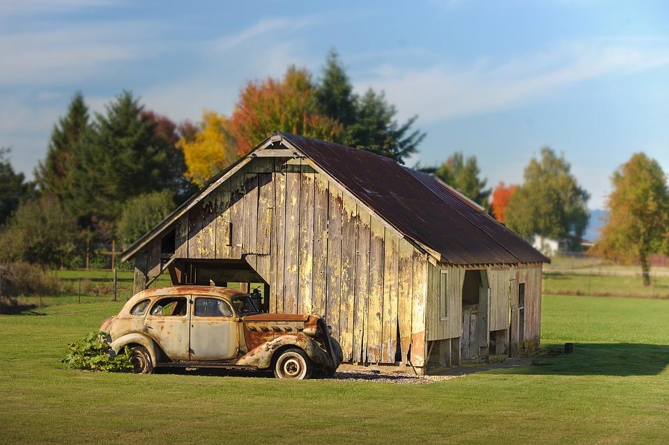 Grass, House, Barn, Outdoors
