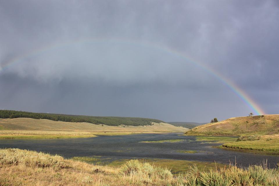 Landscape, Outdoors, Nature, Rainbow, Sky, Yellowstone
