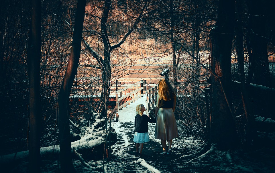 Mother, Daughter, People, Together, Outdoors, Night