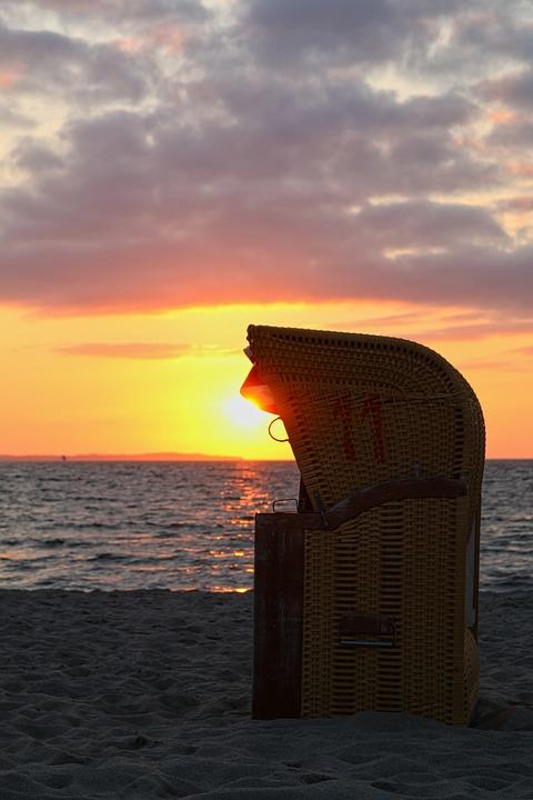 Sunset, Beach, Chair, Sea, Dusk, Ocean, Outdoors