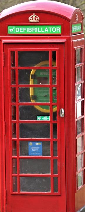 Phone Box, Defibrillator, Telephone, Outdoors, Classic