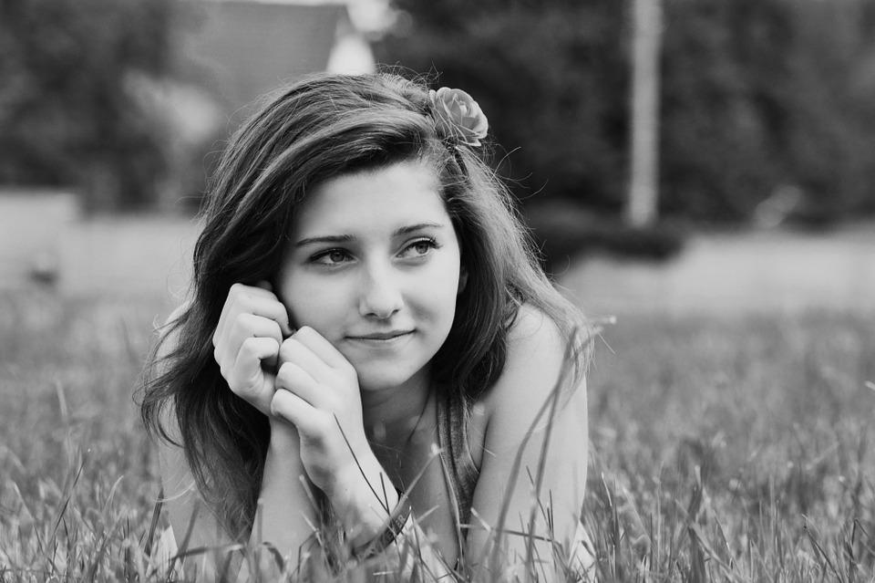Girl, Portrait, Black And White, Lying, Relax, Outdoors