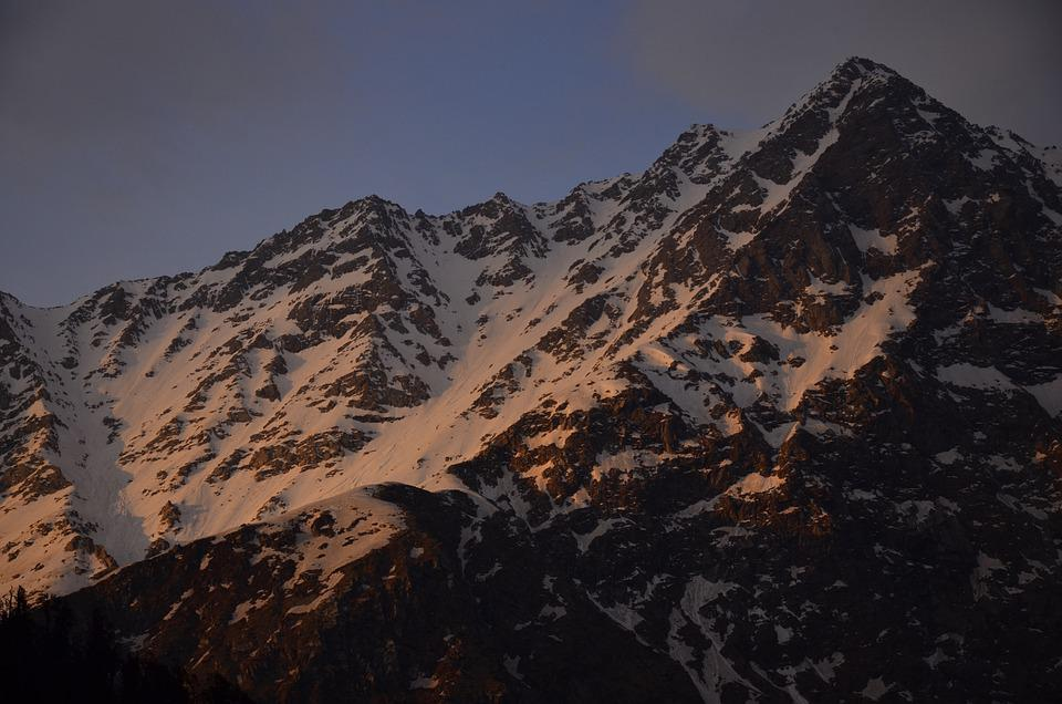 Mountains, Snow, Sunset, Winter, Hiking, Outdoors