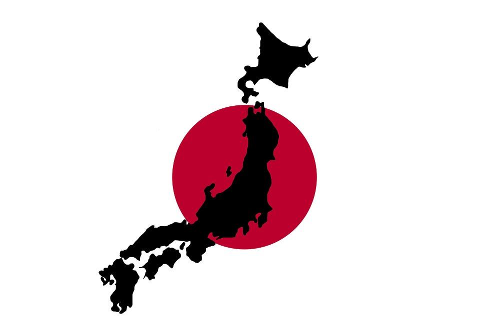 Japan, Japanese, Map, Flag, Red, Outline, Borders