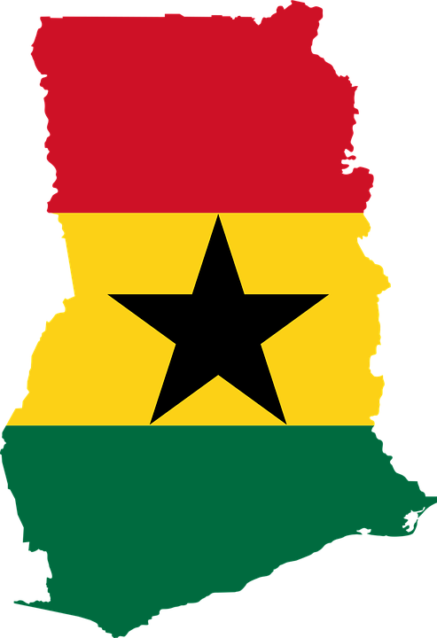 Ghana, Flag, Map, Geography, Outline, Africa, Country