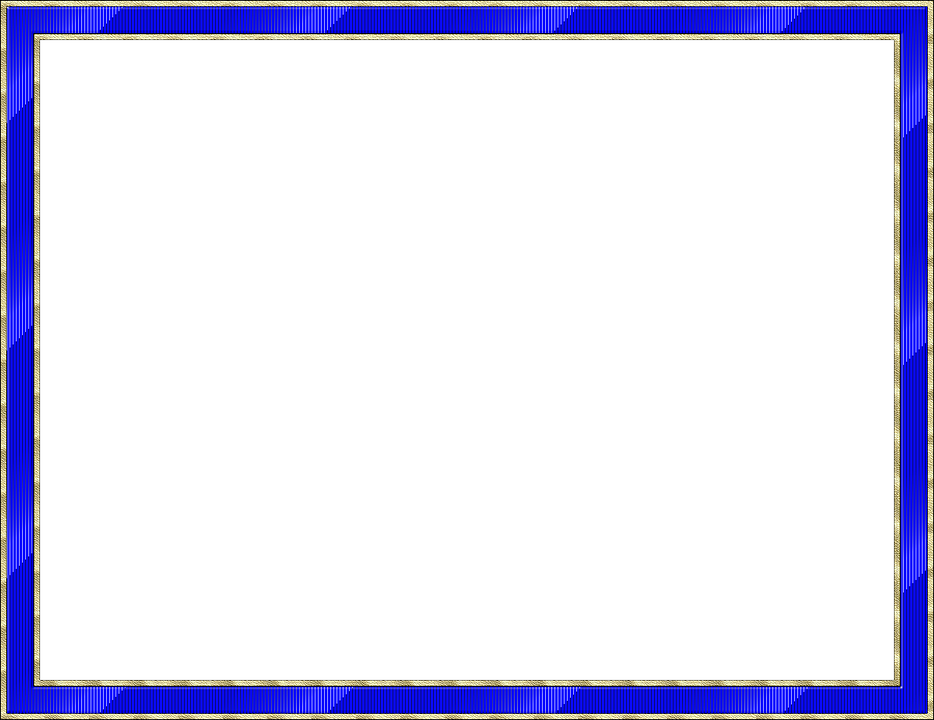 Frame, Outline, Picture Frame, Blue, Gold, Isolated