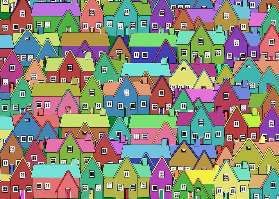 House, Home, Outline, Neighborhood, City, Move
