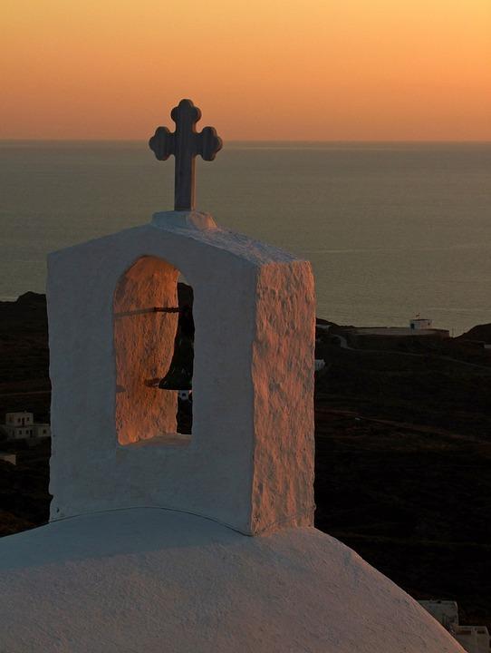 Church, Church Roof, Cross, Outlook, View, Sea, Sunset