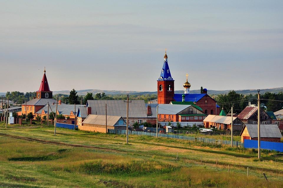 Russia, Church, Village, Landscape, Nature, Outside