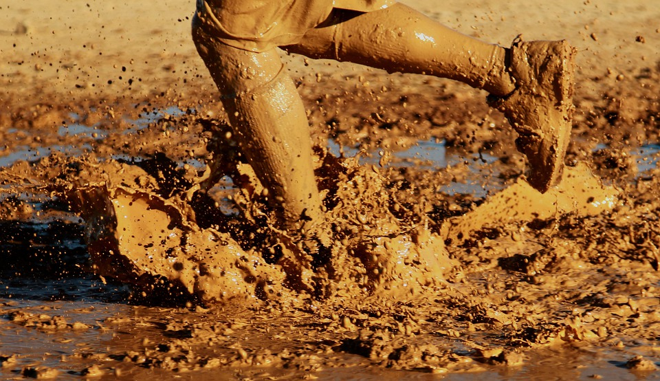 Running, Water, Outside, Mud, Muddy, Splash, Splashing