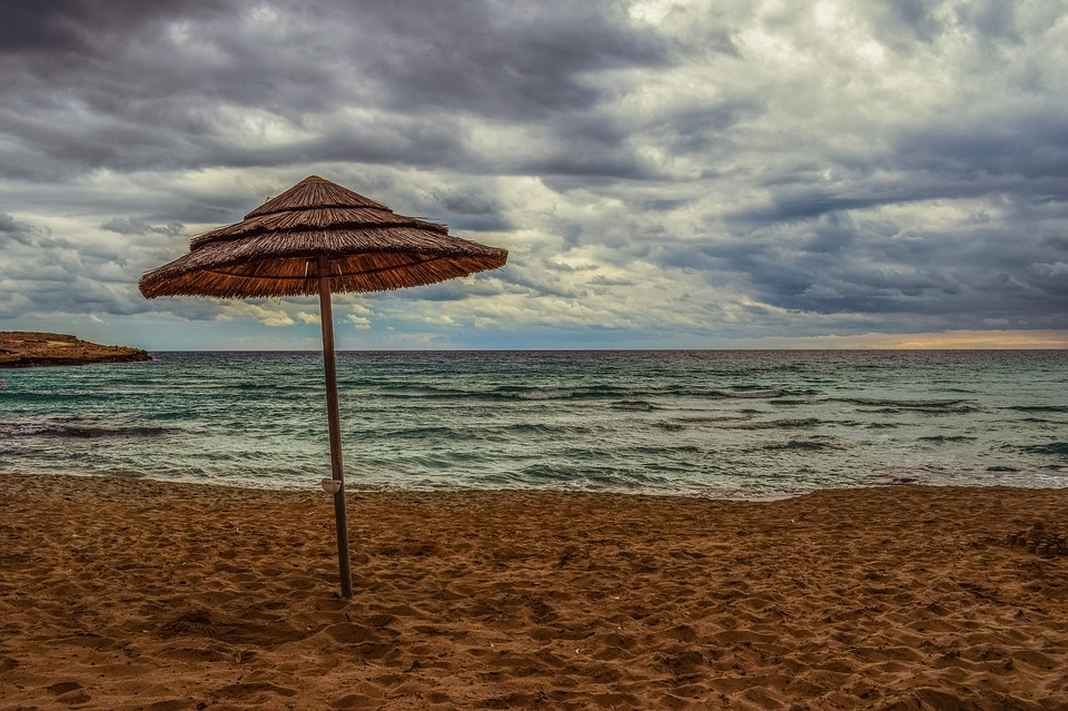 Beach, Empty, Umbrella, Sky, Clouds, Overcast, Nature