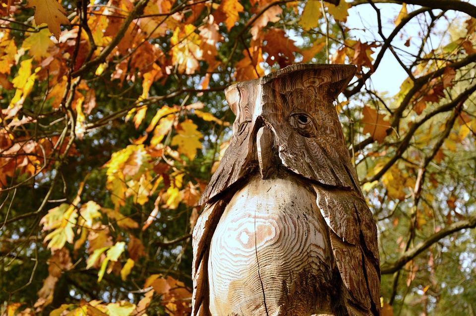 Owl, Eagle Owl, Bird, Figure, Holzfigur, Carving
