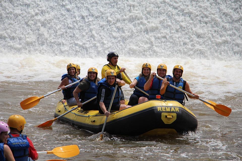 Rafting, Team, Boat, Paddling