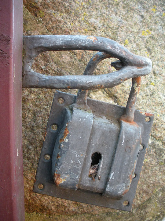 Padlock, Large, Old, Rust, 1700, Century, Gate, Gray