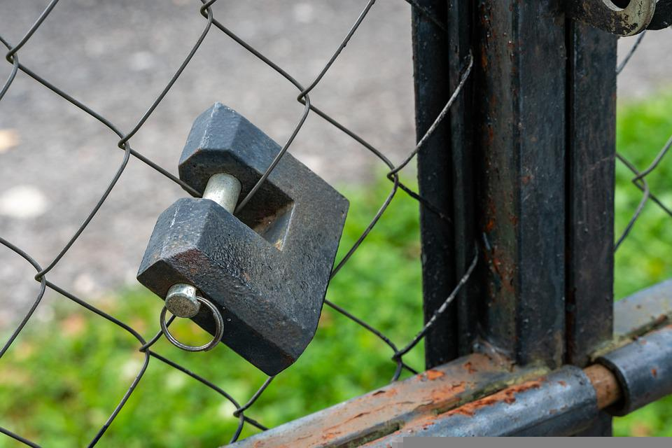 Padlock, Gate, Rust, Rusty, Fence, Demarcation, Closed