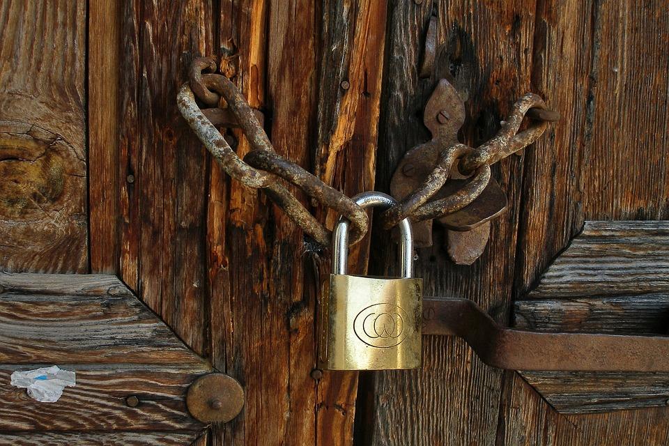 Brass Lock, Padlock, Rust Chain, Old Door